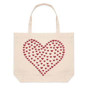 Heart-Of-Hearts-Large-Beach-Tote-Bag-Love-Red-Valentine-039-s-Day-Shopper-Shoulder