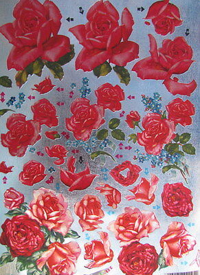 3D Die cut Sheet Dufex Decoupage Red Roses NEW