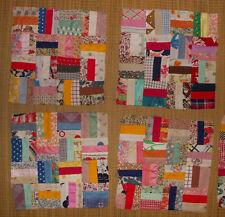 What a treasure! scrap fabric quilt pieces squares & Rail Fence blocks 1970 80's