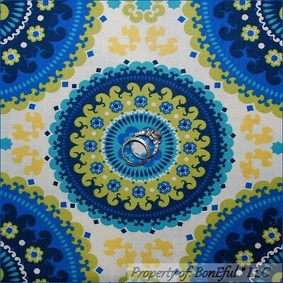 BonEful Fabric FQ Cotton Cream Blue Gold Flower Damask Circle Decor Shabby Retro