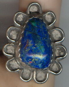 Size-7-1-2-Azurite-Malachite-Cab-set-in-Sterling-Silver-Size-7-1-2-Ring