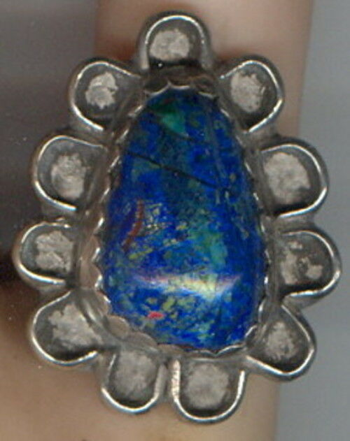 Size 7 1/2 Azurite/ Malachite Cab set in Sterling Silver Size 7 1/2 Ring
