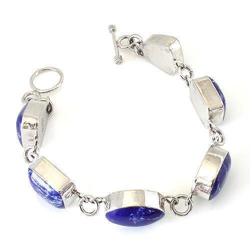 "Sterling Silver Irregular-Shaped Sodalite Inlay Link Bracelet Toggle Closure 8/"""