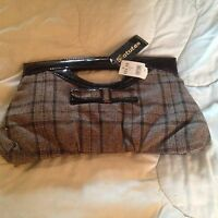 Statues Brown Plaid Clutch Handbag Purse Brown Patent Leather Handles $29.