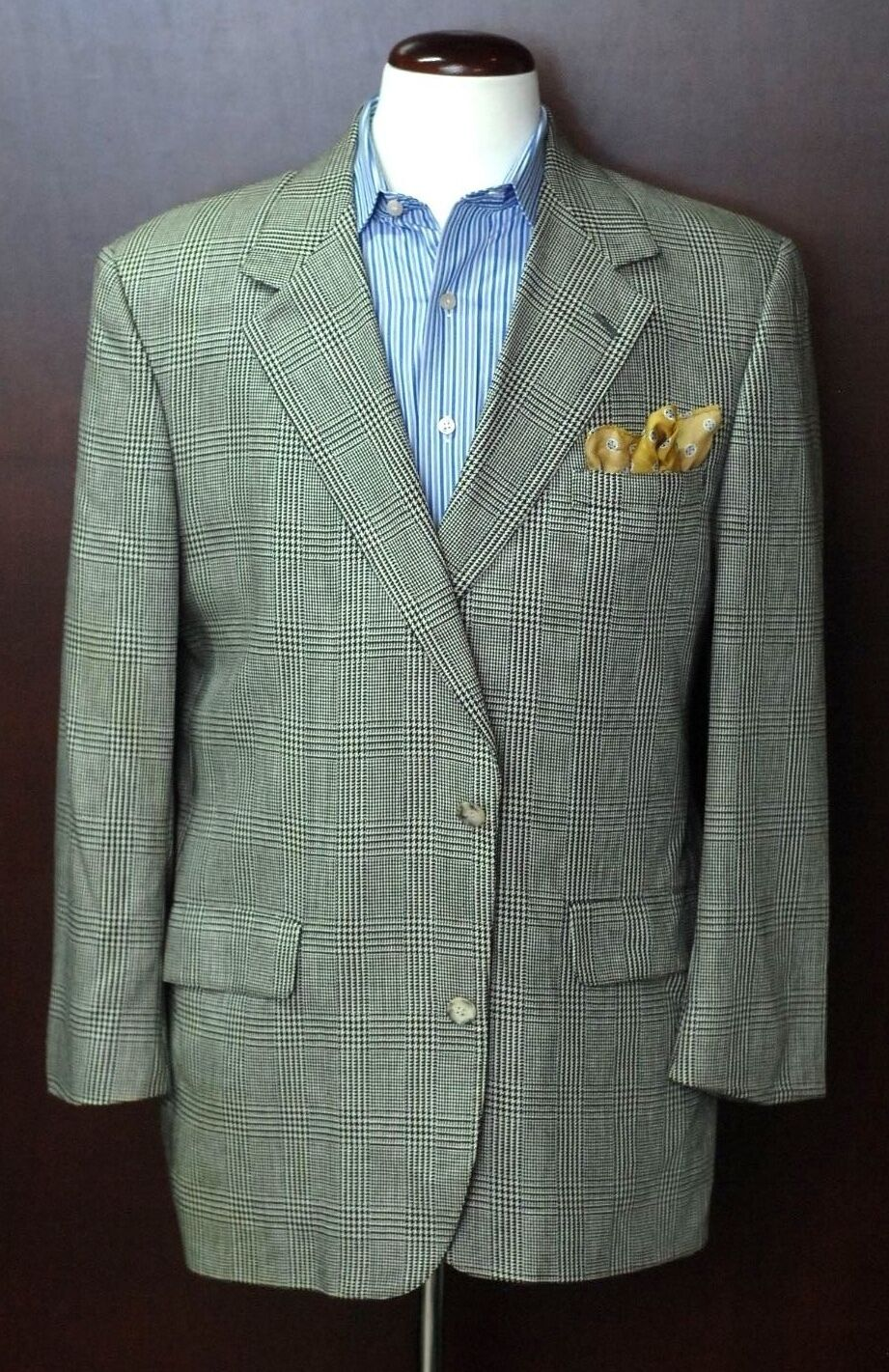 Brooks Bredhers Men's Salt & Pepper Plaid Silk Sport Coat Blazer 42R 42 Regular