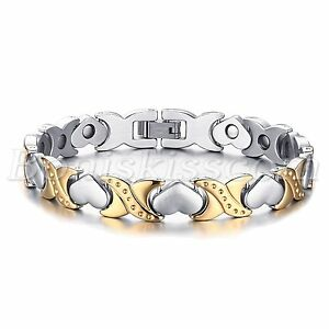 Silver-Gold-Tone-Stainless-Steel-Charm-Heart-Magnetic-Womens-Bracelet-Chain-Link