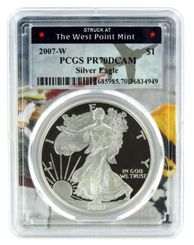 2007 W Silver Eagle Proof  PCGS PR70 DCAM West Point Frame