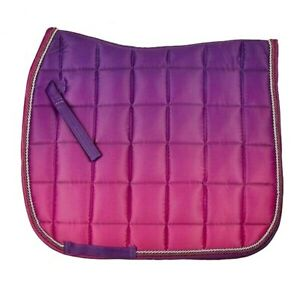 Elico-Newington-SADDLE-PAD-Saddlecloth-OMBRE-Purple-Pink-Full-Rope-Binding
