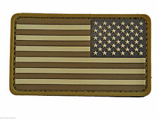 PVC Rubber Desert Tan Reverse US Flag Patch with Hook Fastener Backing Free Ship