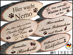 t rschild mit wunschtext gravur geschenk namensschild rinde holz schild name t r ebay. Black Bedroom Furniture Sets. Home Design Ideas