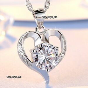 CHRISTMAS GIFTS FOR HER 925 Silver Crystal Heart Necklace Love Women Jewellery 1 - -, United Kingdom - CHRISTMAS GIFTS FOR HER 925 Silver Crystal Heart Necklace Love Women Jewellery 1 - -, United Kingdom