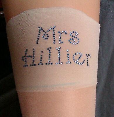 Mrs your name personalised ivory super shine wedding bridal stockings