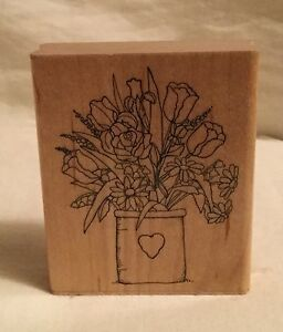 JRL-Design-N197-Small-Spring-Bouquet-Stamp-Wood