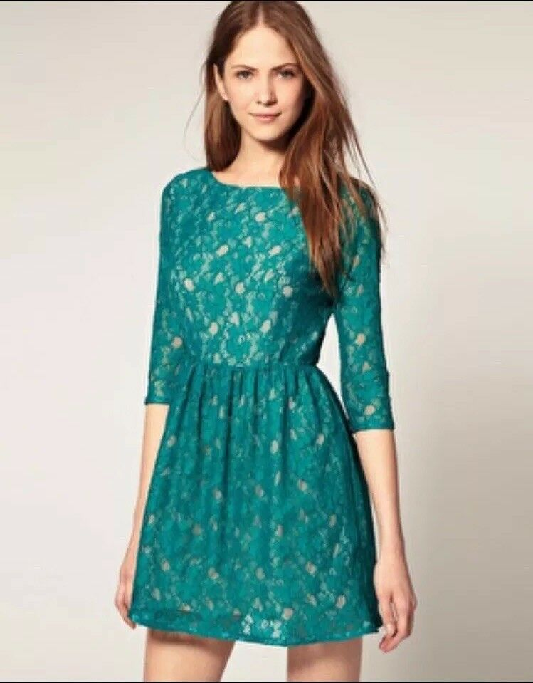 French Connection Teal Lace Fit And Flare Dress Size 8 New With Tag
