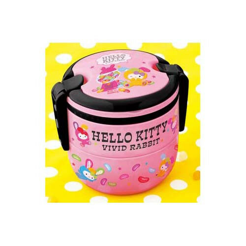 Hello Kitty Vivid Rabbit 2-tier Bento Box Pink Anime Manga NEW
