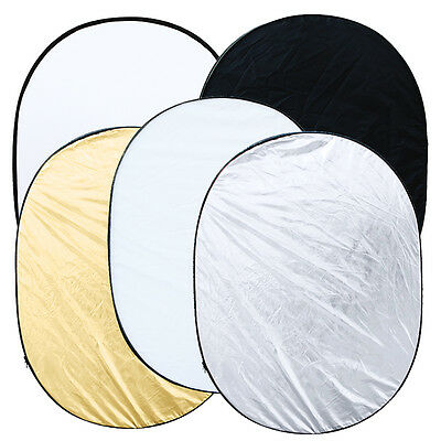 """90 * 120cm/35""""x47"""" 5 in 1 Studio Multi Photo Collapsible Light Oval Reflector"""