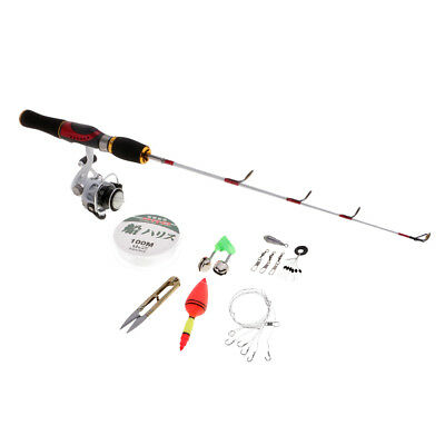Winter Ice Fishing Combo Kit Micro Spinning Rod Reel 100m Line Float Hook