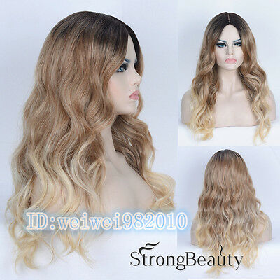 Ombre Wig long wavy Fashion blonde Wig with dark root hair Wigs for Women