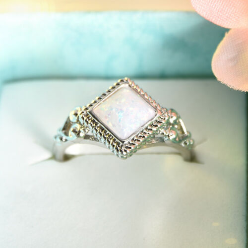Women Silver Plated White Fire Opal Gems Crystal Wedding Ring Size 5-10 Jewelry
