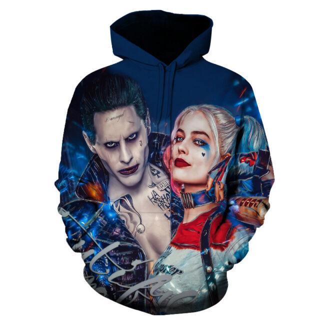 New Women Men Suicide Squad Harley Quinn Joker Couple 3d Print Hoodie Sweatshirt
