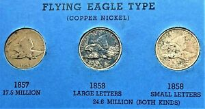 1857-1858-SMALL-LETTER-1858-LARGE-LETTER-FLYING-EAGLE-CENTS-PENNY-COINS-9