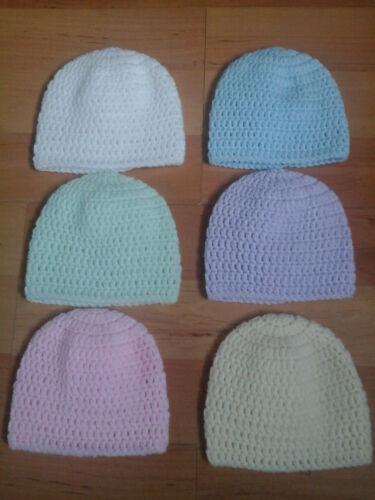 Mano CROCHET BEBÉ PREMATURO Bebé sombreros//gorros 1lb-3lb,3lb-5lb 5lb-8lb