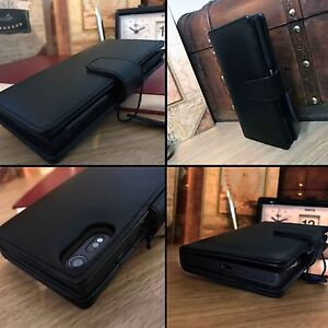 Real-Genuine-Leather-Wallet-Book-Case-Black-For-Sony-Xperia-5