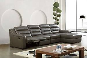 Top Grain Leather Ribbed Sectional Sofa with Recliner In Gray Color