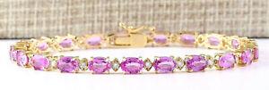 14-92-Carat-Natural-Sapphire-14K-White-Gold-Diamond-Bracelet