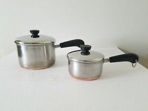 Vintage-Revere-Ware-1801-Sauce-Pans-3QT-1QT-W-Lids-Copper-Bottom-No-Dents-Or