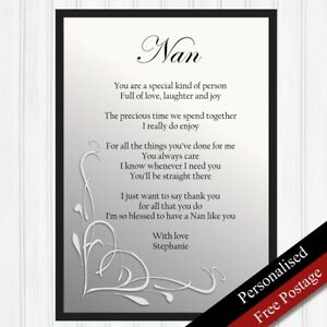 Image Is Loading Nan Gift Personalised Birthday For Nanny Keepsake