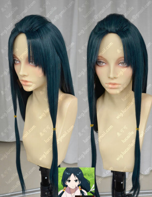 Cosplay MAGI Hakuei Ren Fashion Long Ink Green Party Wig Hairs