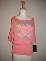 Women's Sinful By Affliction Uprising Top Pink Stripe 05kn428 Sz Xs S M