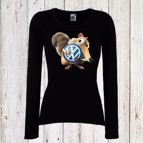 VW VOLKSWAGEN ICE AGE WOMEN T-SHIRT SCRAT FUN LONG//SHORT