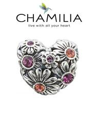 CHAMILIA 925 silver Swarovski PINK ZINNIA HEART charm bead, Love, flowers