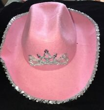 9734cfb70847e girls pink COWGIRL HAT silver sequins HALLOWEEN WEAR PRETEND PLAY one size  tiara