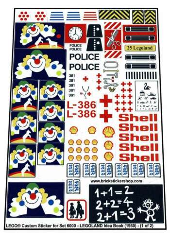 LEGOLAND Idea Book 1980 Lego® Custom Pre-Cut Sticker for set 6000