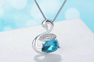 Swan-Crystal-Pendant-Chain-Necklace-925-Sterling-Silver-Womens-Jewellery-Gift-UK