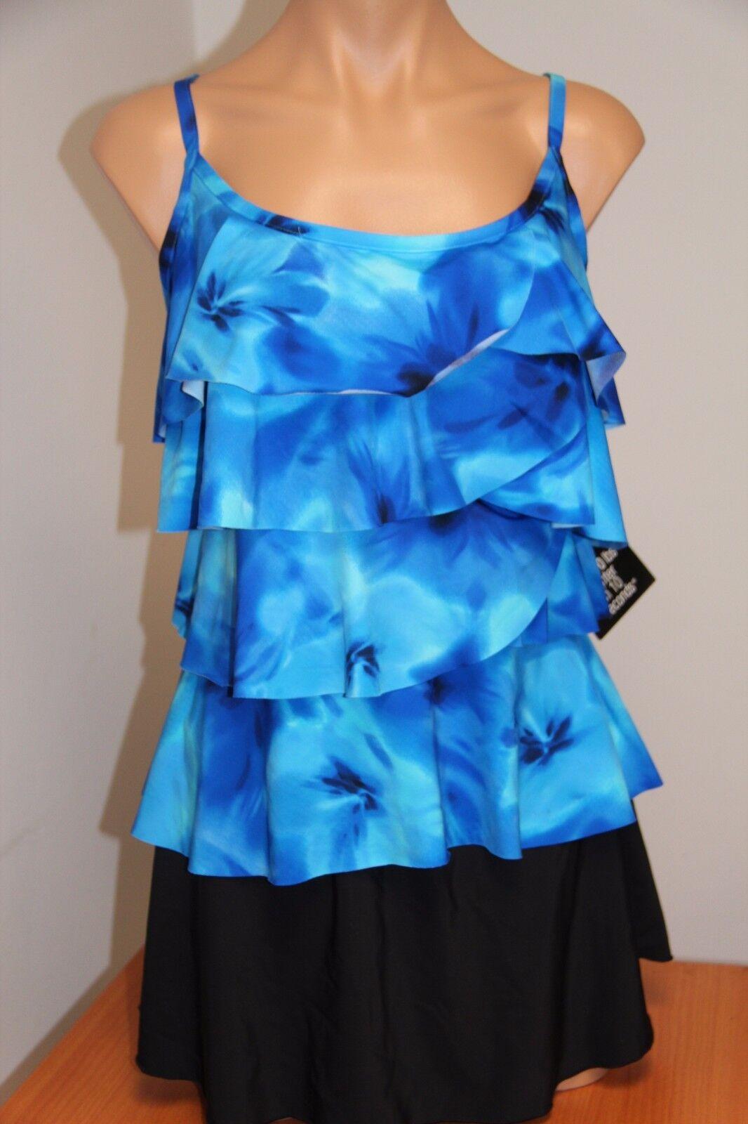 NWT Miraclesuit Swimsuit Bikini Tankini 2 pc set sz 8 blue Ocn Dream Tier Skirt