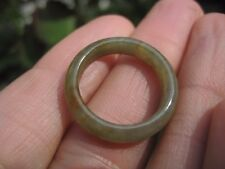 Natural White Green  grade A Jade Stone ring Thailand jewelry art Size 6.75 A58