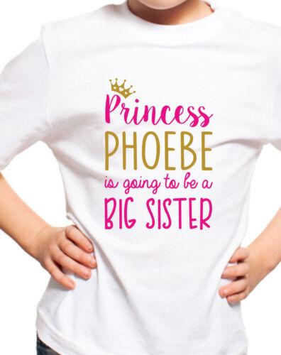 PERSONALISED BIG SISTER PRINCESS T-SHIRT GIRLS TSHIRT KIDS TOP AGES 1-12 T SHIRT