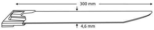 Ss304 Acier Inoxydable-Serre-câbles avec balle fermeture l300 X b4.6 mm métal serre-câbles