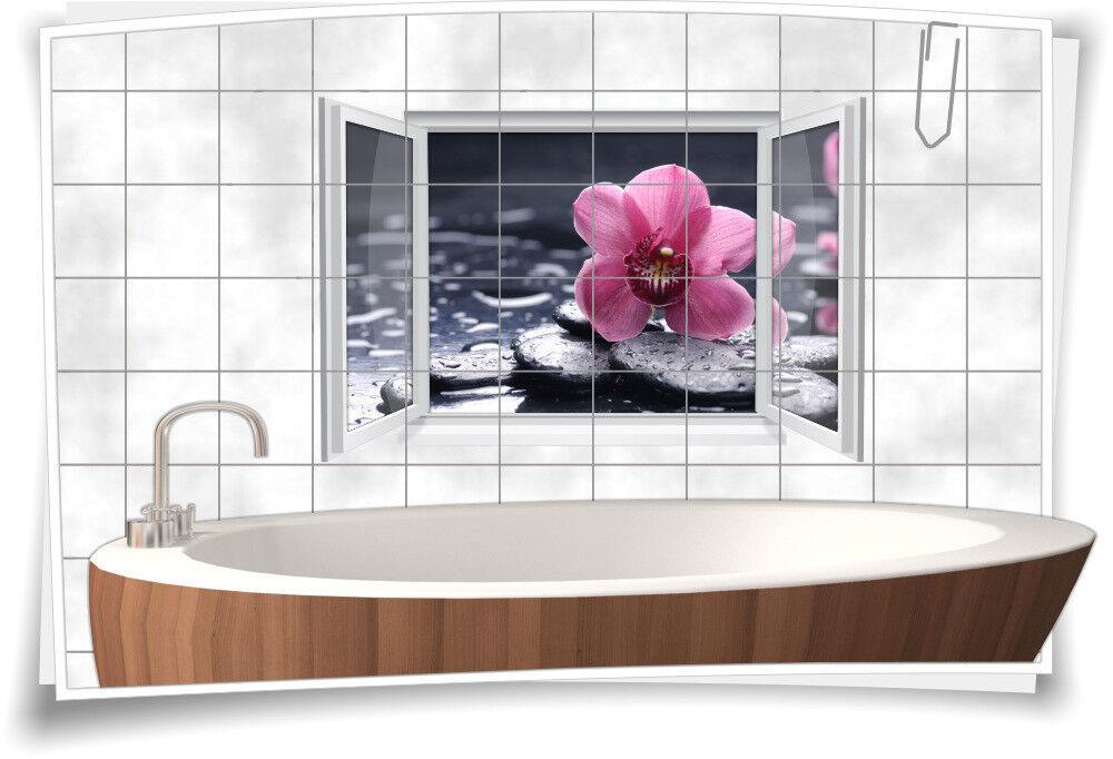 Fliesenaufkleber Fliesenbild Fliesen Aufkleber Wellness SPA Blüte Steine Bad WC