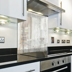 Kuchenruckwand Spritzschutz Kuche Gehartetes Glas Holzbretter Muster