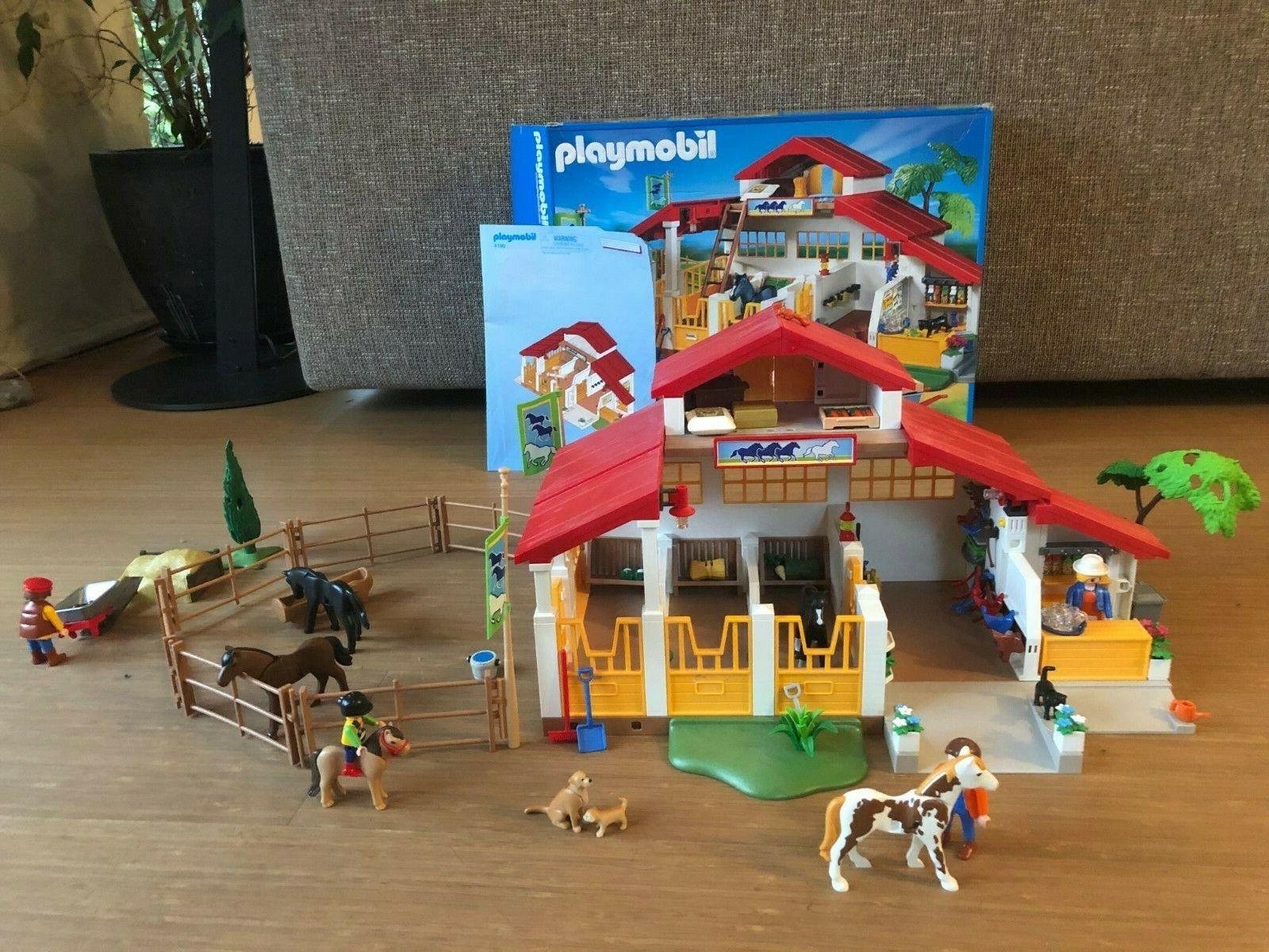 Playmobil Reiterhof 4190 mit Originalkarton + Anleitung + weitere Teile
