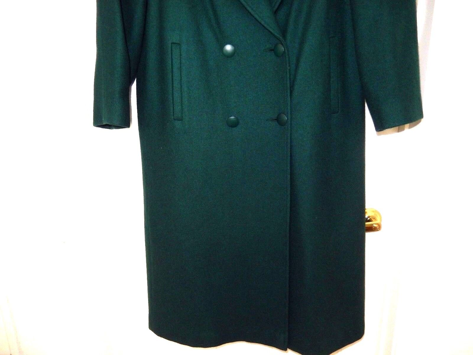 Maurices Dressy Wool & & & Leather Trim Coat-pretty hunter green   Lined  EUC d39d84