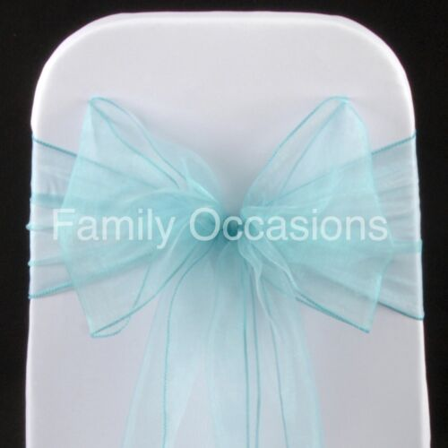 AQUA BLUE ORGANZA SASHES CHAIR COVER BOW SASH 22CM WIDE TO CREATE A FULL BOW