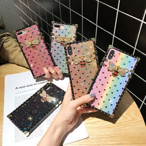 For-iPhone-11-Pro-XS-Max-XR-8-Bling-Glitter-Heart-Diamond-Bee-Square-Case-Cover