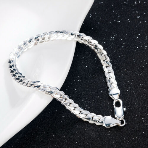 new Women 925 Solid Silver Bracelet Fashion Jewelry 5MM Snake Chain Bangle Gift