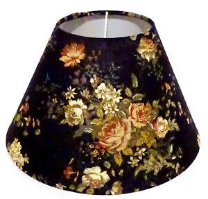 Lampenschirm-Tischleuchte-Stehlampe-Shabby-Blumen-Schwarz-Stoff-E14